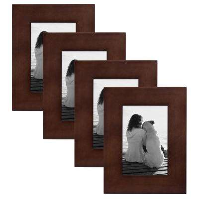 Museum 4 in. x 6 in. Walnut Brown Picture Frame (Set of 4)