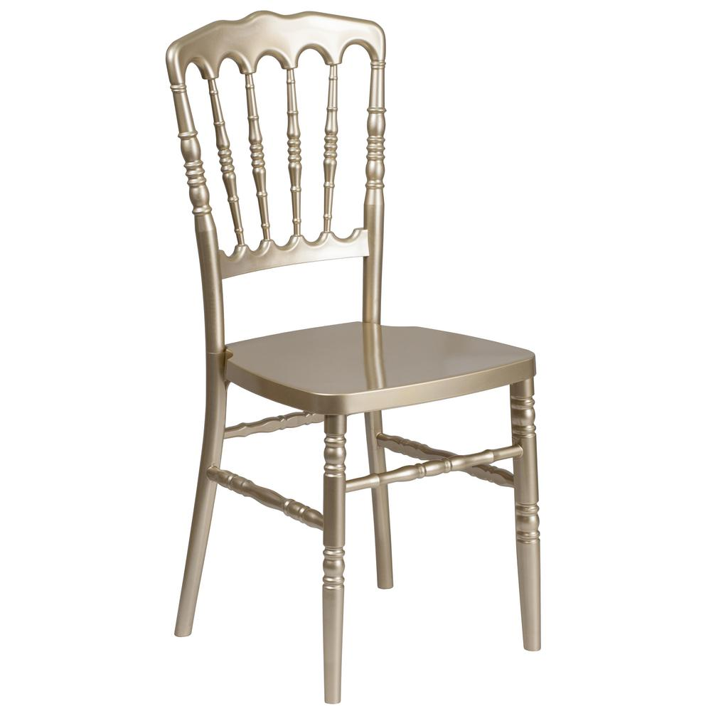 Merveilleux Flash Furniture HERCULES Series Gold Resin Stacking Napoleon Chair