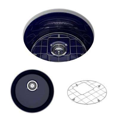 Sotto Undermount Fireclay 18.5 in. Single Bowl Round Kitchen Sink with Bottom Grid and Strainer in Sapphire Blue