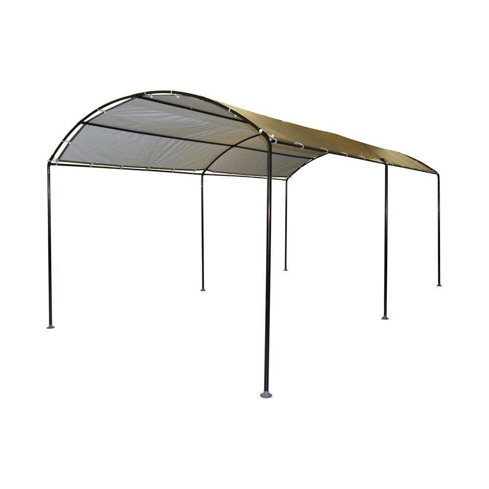 ShelterLogic 10 ft  W x 18 ft  D Monarc Canopy with 2 in  Black Steel Frame  and 100% Waterproof, UV-Resistant Sandstone Cover