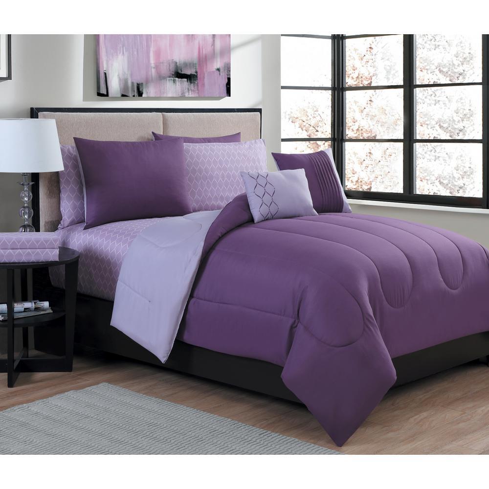 Lattice 9-Piece Purple/Light Purple Queen Bed in a Bag Set