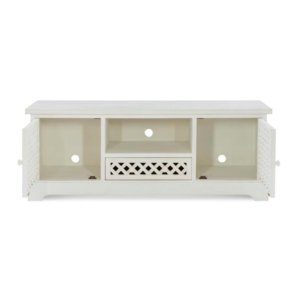 Bailee 55 in. Distressed White Wood TV Stand with 1 Drawer Fits TVs Up to 50 in. with Doors