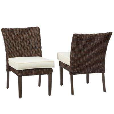 Mill Valley Fully Woven Patio Armless Side Chairs with Parchment Cushions (2-Pack)