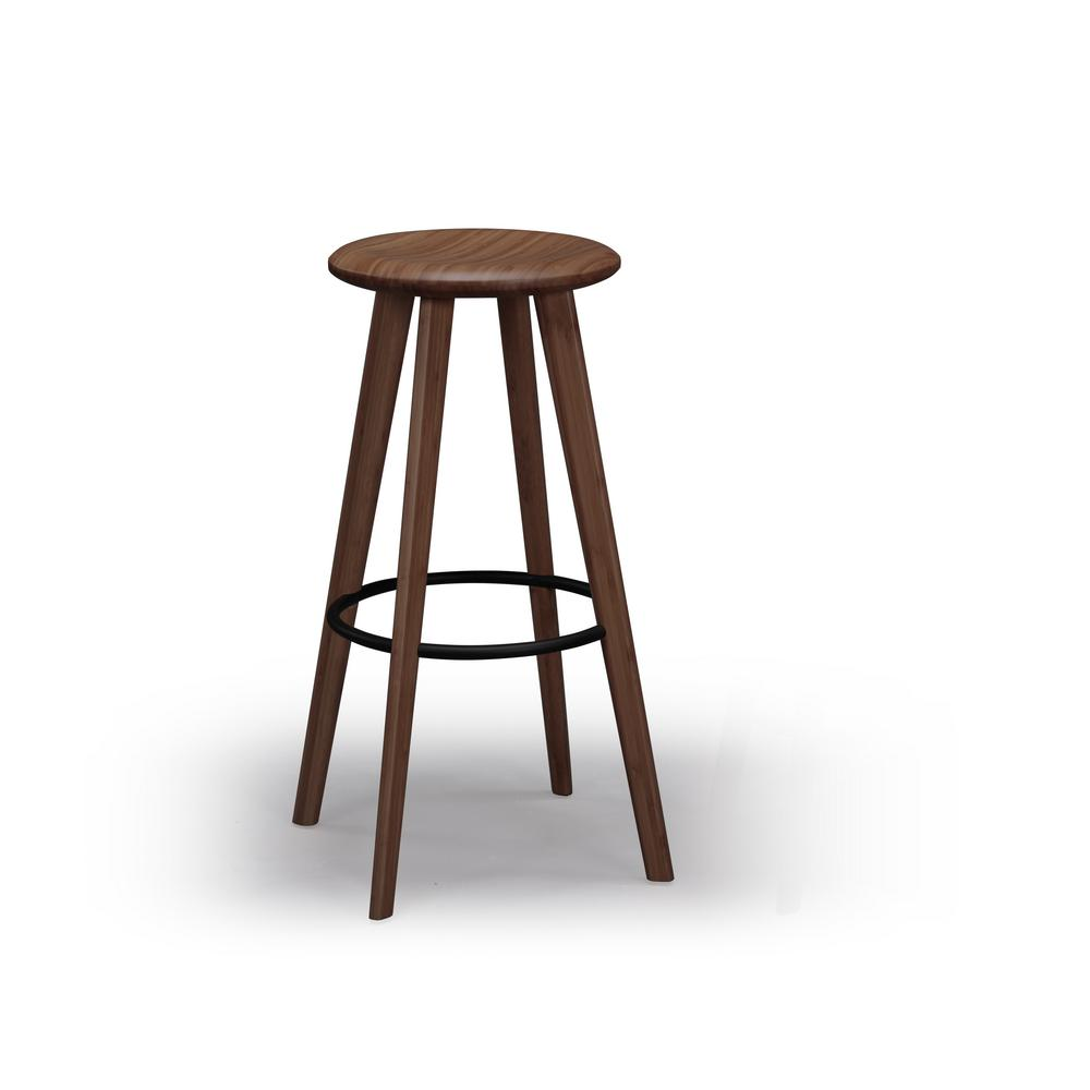 Mimosa 26 in. Black Walnut 100% Solid Classic Bamboo Counter Stool