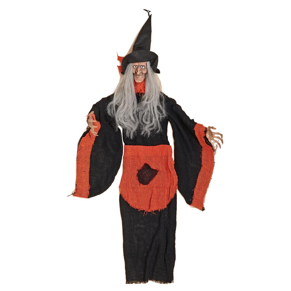 36 in. Orange Hanging Witch