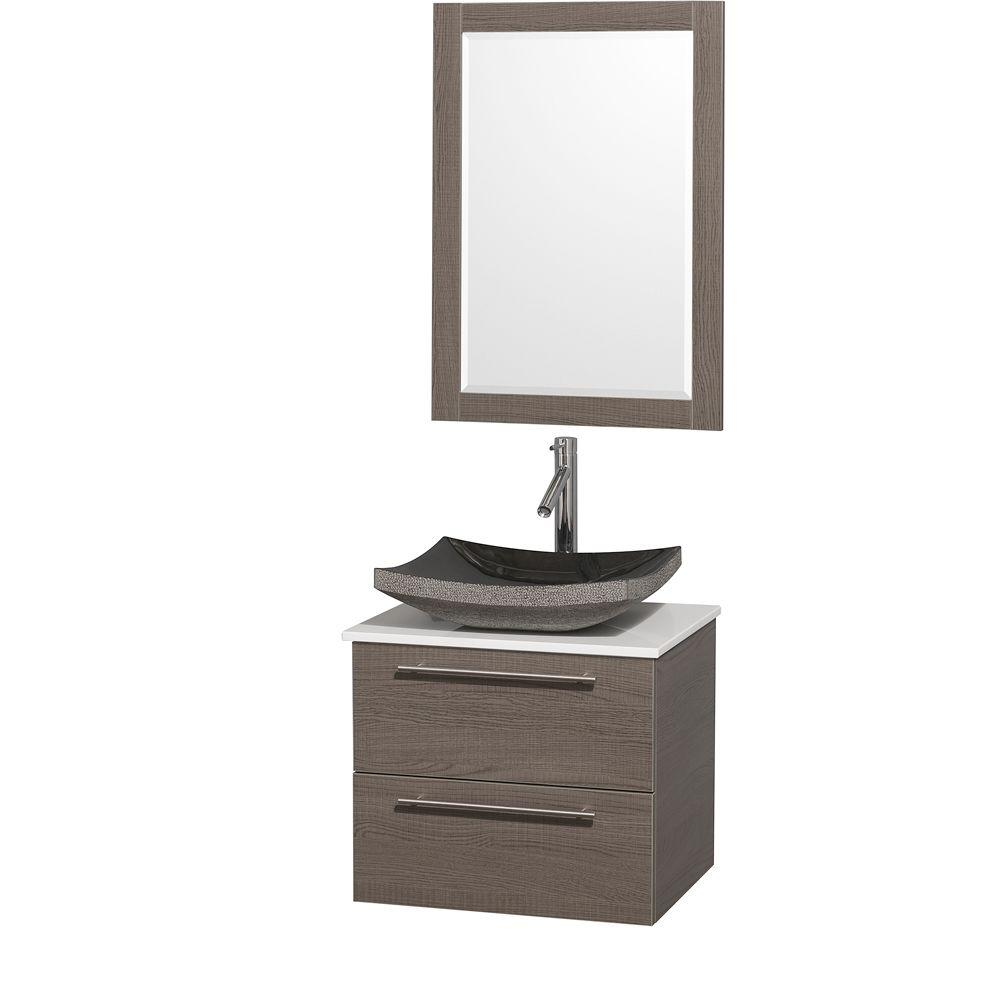 Amare 24 in. Vanity in Grey Oak with Man-Made Stone Vanity