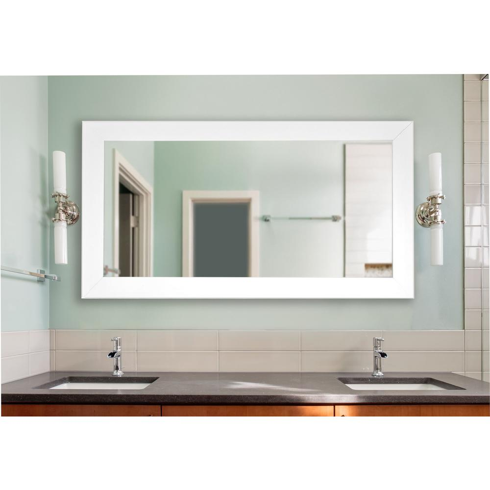 White Satin Wide Double Vanity Wall Mirror