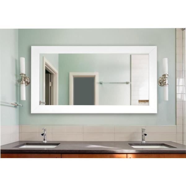 64 in. x 35 in. White Satin Wide Double Vanity Mirror