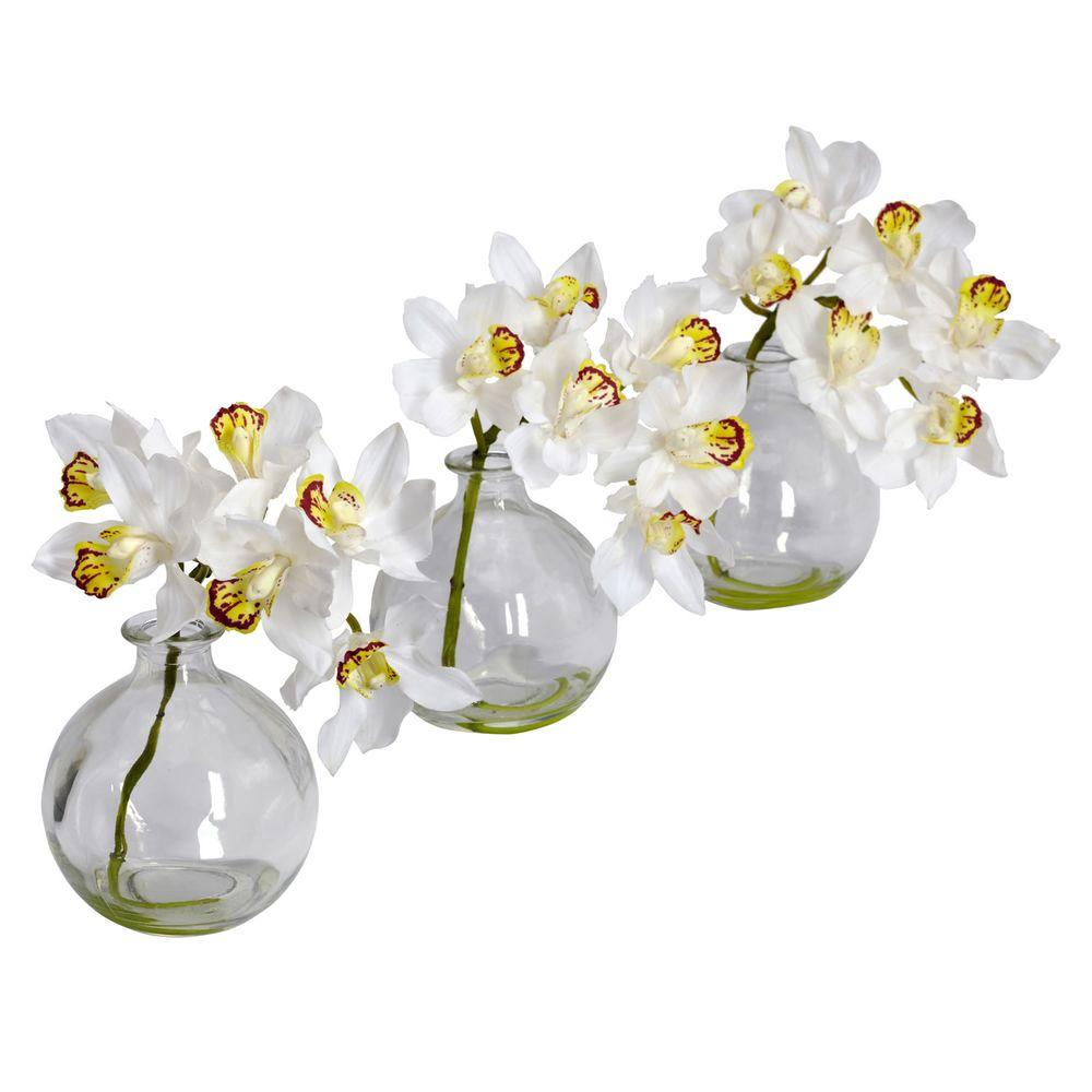 Nearly Natural 8 in. H White Cymbidium with Vase Silk Flower Arrangement (Set of 3) Nearly Natural 8 in. H White Cymbidium with Vase Silk Flower Arrangement (Set of 3)