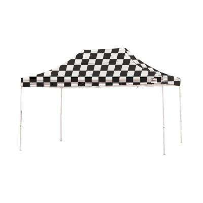 Pro Series 10 ft. x 15 ft. Checkered Flag Straight Leg Pop-Up Canopy