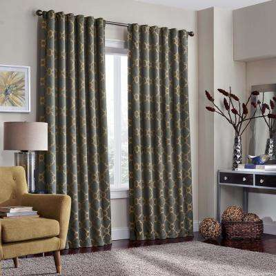 Correll 108 in. L Polyester Rod Pocket Curtain in Smoke (1-Pack)