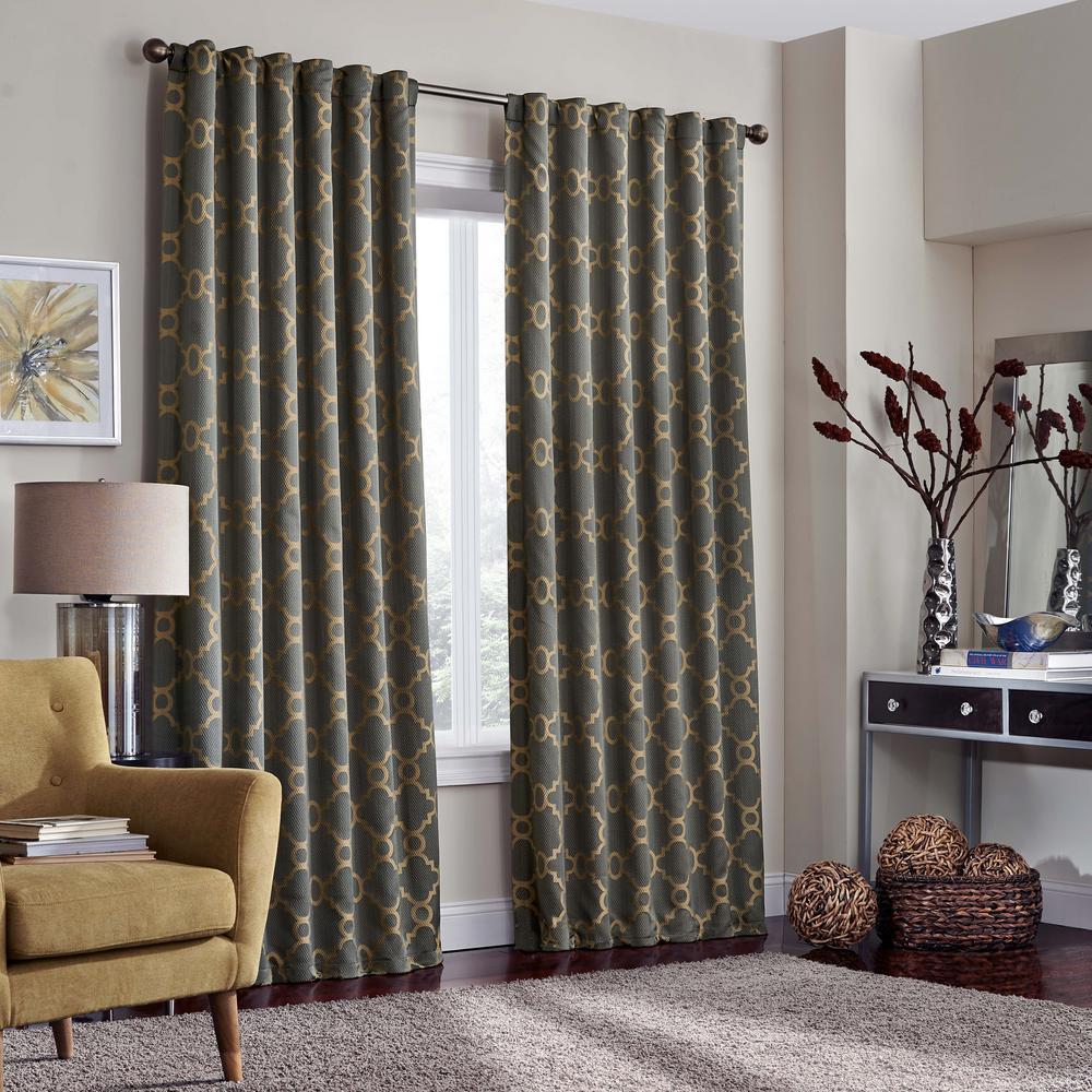 solaris blackout liner white polyester rod pocket curtain pair 2 1628010 the home depot. Black Bedroom Furniture Sets. Home Design Ideas