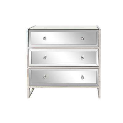 Silver 3-Drawer Mirrored Console