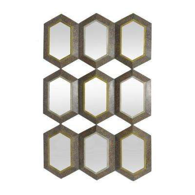 26.5 in. x 41 in. Brown Metal Wall Decor With Mirror