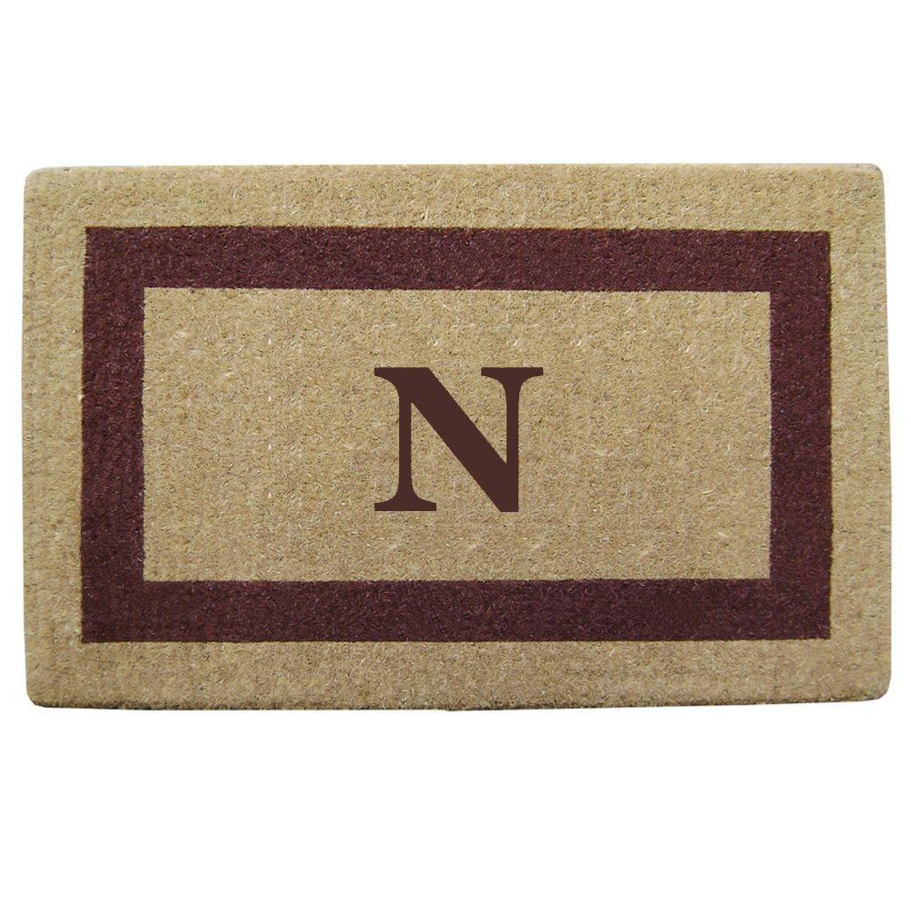 Nedia Home Single Picture Frame Brown 22 in. x 36 in. HeavyDuty Coir Monogrammed N Door Mat