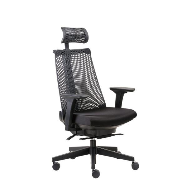 Boss Black Contemporary Executive Chair with Headrest B6550-BK-HR