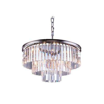 Sydney 9-Light Polished Nickel Chandelier with Clear Crystal