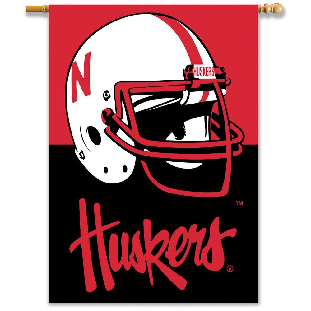 BSI Products NCAA 28 in. x 40 in. Nebraska 2-Sided Banner with Pole Sleeve-DISCONTINUED