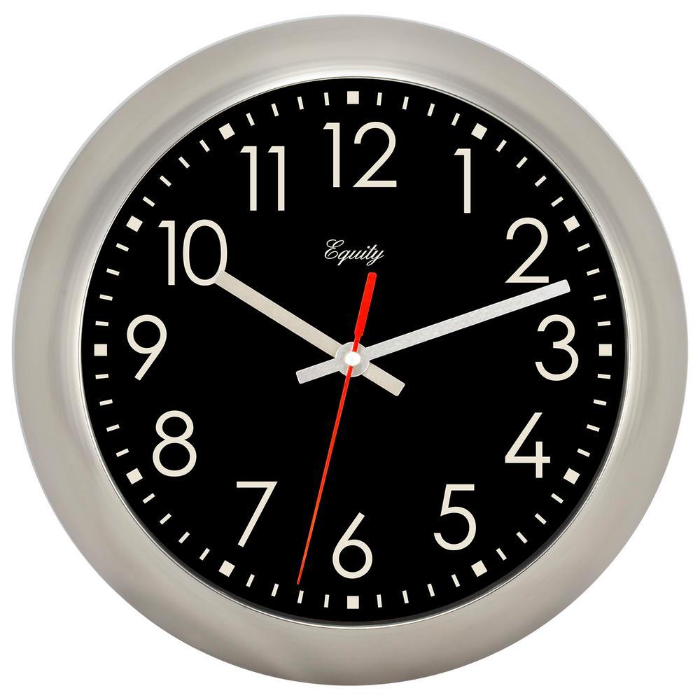 11 in. Round Brushed Titanium Analog Wall Clock
