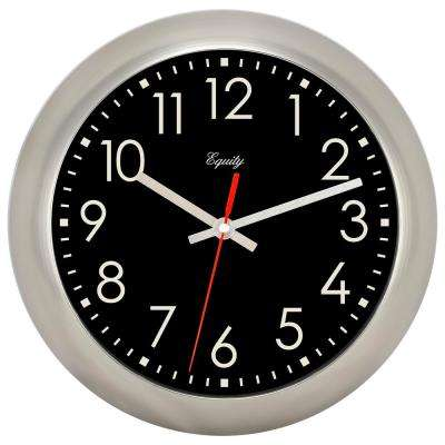11 in. Round Brushed Titanium Analog Wall Clock