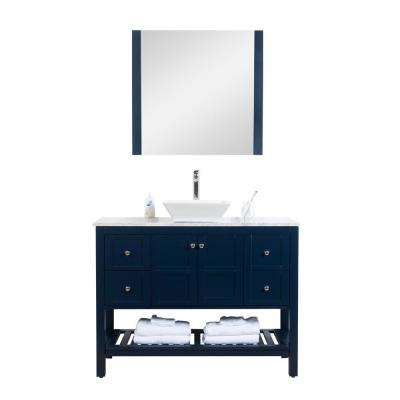 Manhattan 48 in. W x 18 in. D Vanity with Marble Top,White Basin and Mirror in Navy