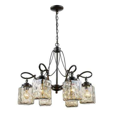 Moore 6-Light Antique Bronze Chandelier with Water Glass Shades