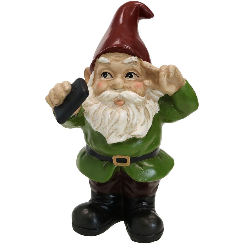 9.5 in. Stanley the Selfie Lawn and Yard Statue or Indoor Sculpture Garden Gnome