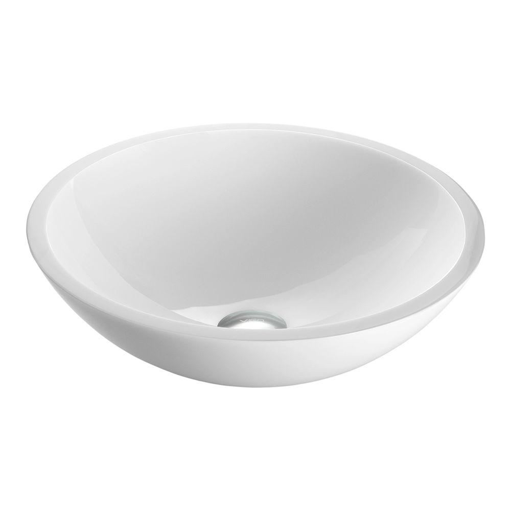 Captivating VIGO Round Flat Edge Phoenix Stone Glass Vessel Sink In White