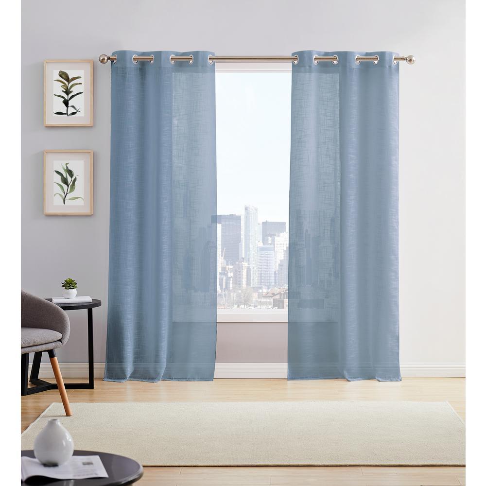 Hannah 38in. W x 84in. L Semi Sheer Grommet Window Panel Pair (2-Pack) River Blue