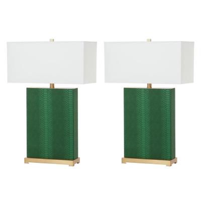 Joyce 27.75 Jade Faux Snakeskin Table Lamp with Off-White Shade (Set of 2)
