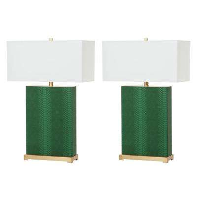Joyce 27.75 Jade Faux Snakeskin Table Lamp (Set of 2)