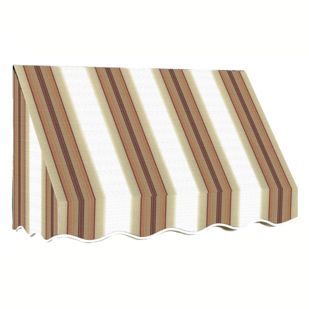 AWNTECH 18 ft. San Francisco Window Awning (44 in. H x 24 in. D) in White/Linen/Terra cotta Stripe