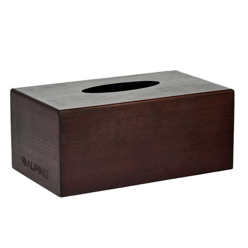 Alpine Industries Rectangular Wood Tissue Box Cover Holder in Espresso