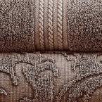 Allure Lifestyle 2-Pack Denim Washed Filigree Leaf Bath Towel Set in Mocha