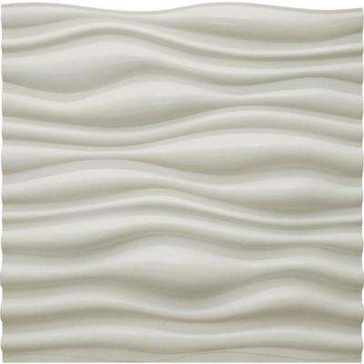 Dunes 24 in. x 24 in. Matte White PVC Wall Panel