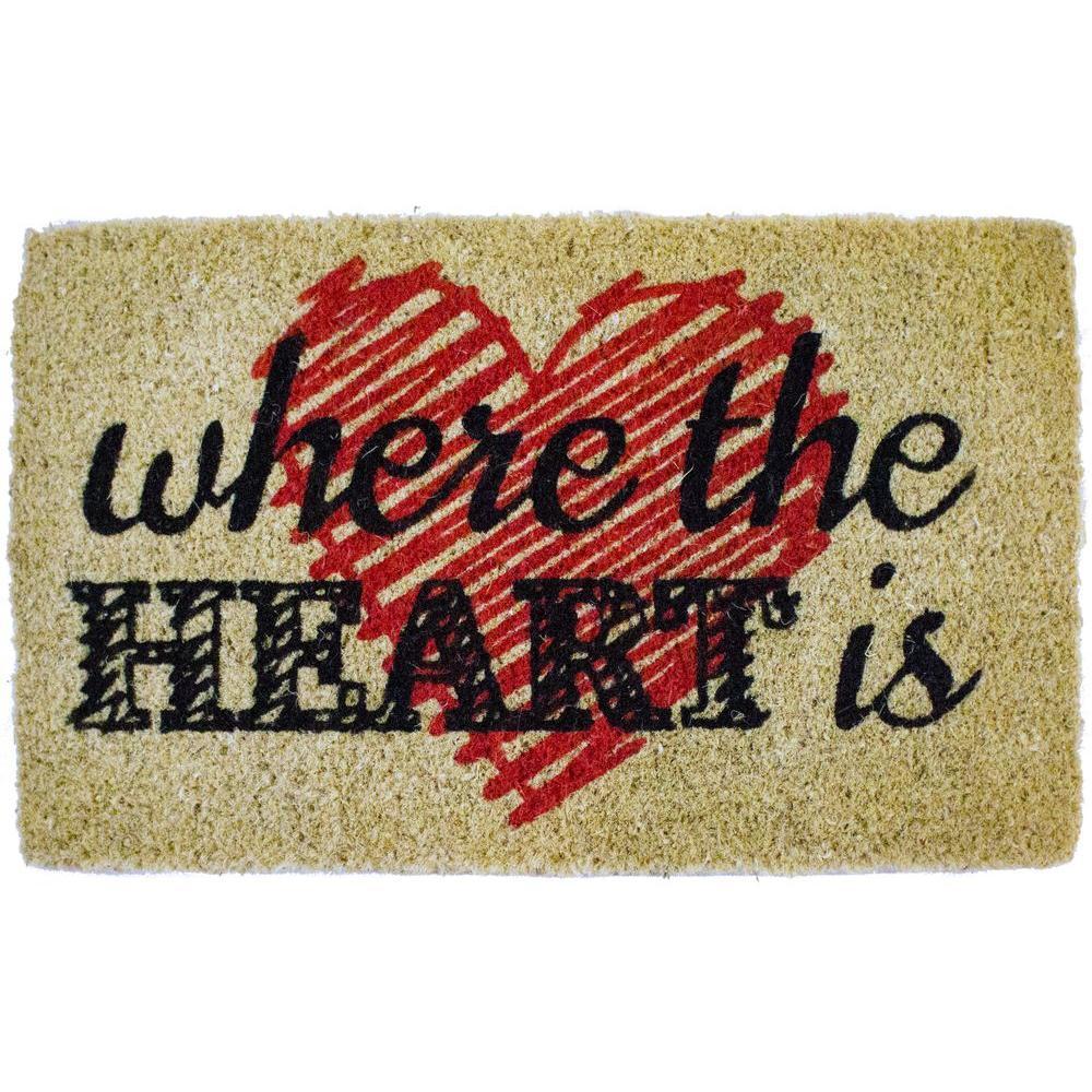 Heart is 18 in. x 30 in. Hand Woven Coconut Fiber Door Mat