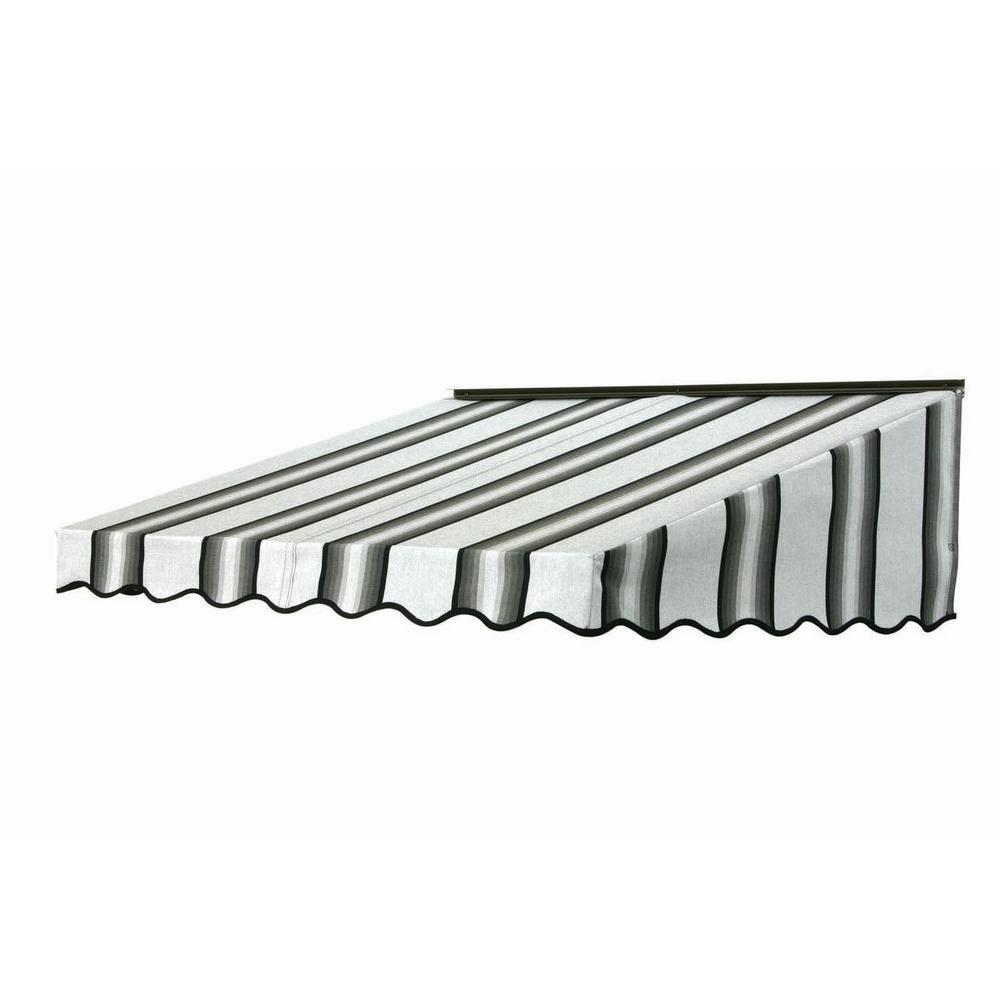 7 ft. 2700 Series Fabric Door Canopy (19 in. H x 47 in. D) in Grey/Black/White