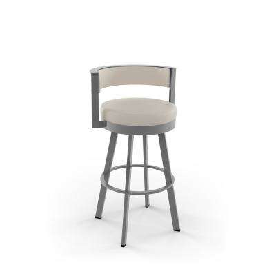 Browser 30 in. Cream Faux Leather Glossy Grey Metal Swivel Bar Stool