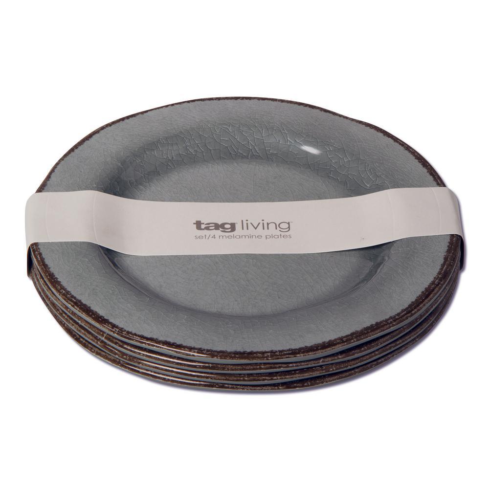 Veranda Slate Blue Melamine Salad Plate (Set of 4)