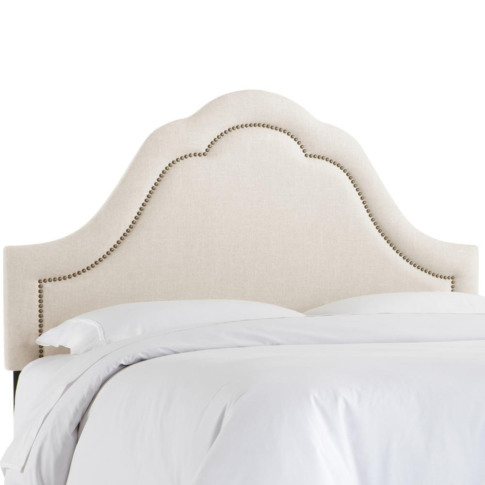 Linen Talc Queen Arch Inset nail Button Headboard-872NB-BRLNNTLC ...