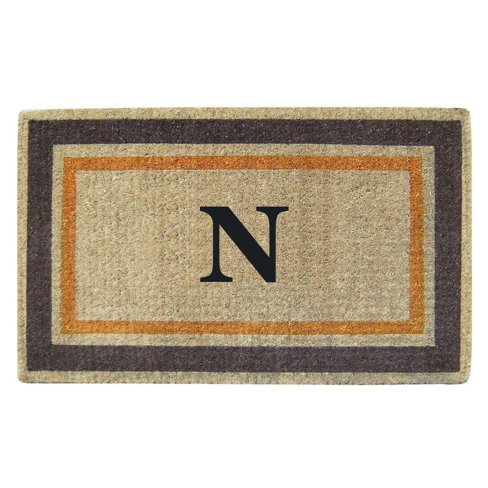 Creative Accents Double Picture Frame Orange Brown 22 in. x 36 in. HeavyDuty Coir Monogrammed N Door Mat