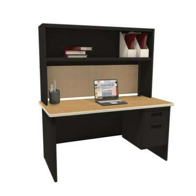 Black and Oak Windblown 60 in. Single File Desk with Storage Shelf