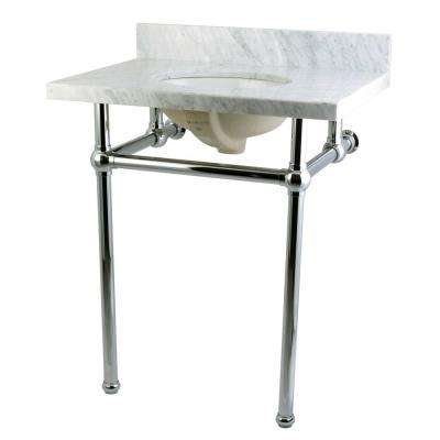 Washstand 30 in. Console Table in Carrara White with Metal Legs in Polished Chrome