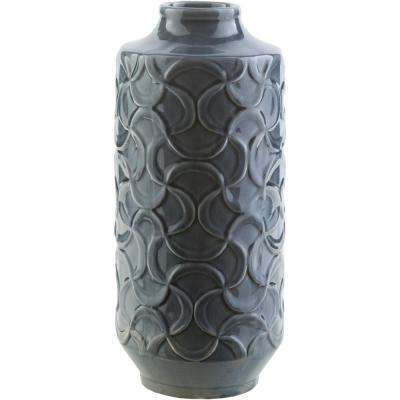 Ohati 14.6 in. Navy Ceramic Decorative Vase