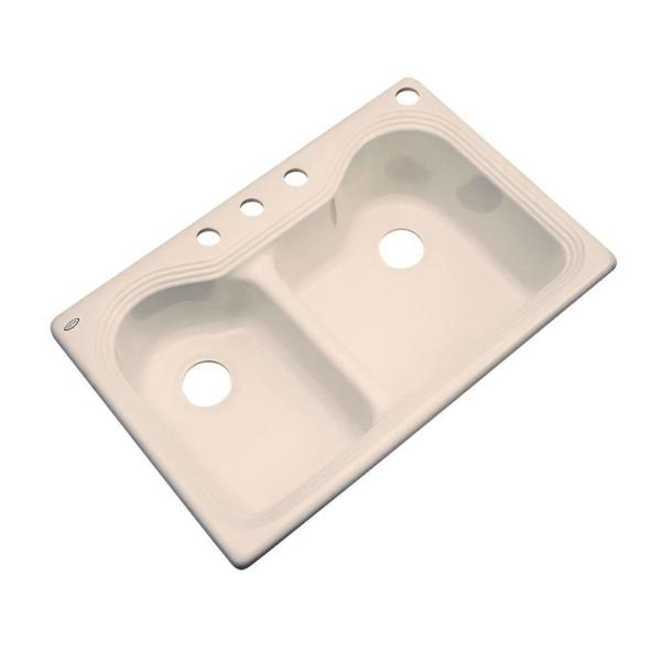 Thermocast Breckenridge Drop In Acrylic 33 In 4 Hole Double Bowl Kitchen Sink In Peach Bisque 46407 The Home Depot