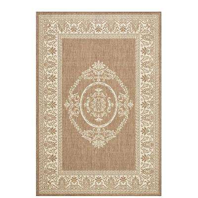 Antique Medallion Taupe/Champagne 9 ft. x 13 ft. Indoor/Outdoor Area Rug