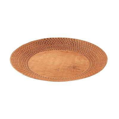 24 in. Dia Copper Classic II Hammered Texture Birdbath with Wide Rim