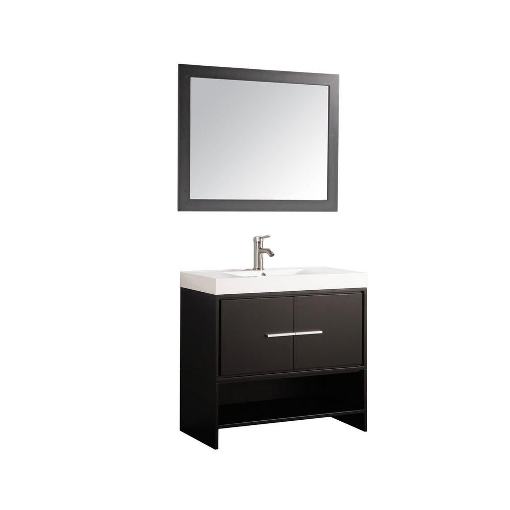 MTD Vanities Cypress 36 in. W x 18 in. D x 36 in. H Vanity in Espresso with Acrylic Vanity Top in White with White Basin and Mirror