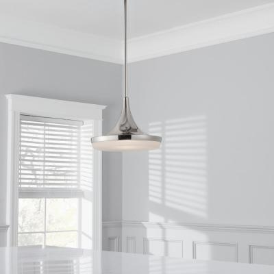 40-Watt Equivalent 14 in. Polished Nickel Integrated LED Mini-Pendant
