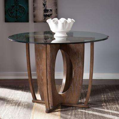 Rufina Glass Top 42 in. W Round Dining Table in Burnt Oak
